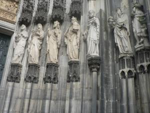 Statues on walls of the Cologne Cathedral