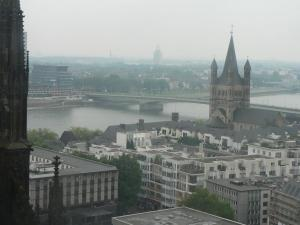The view from the observation deck of the tower of Cologne Cathedral